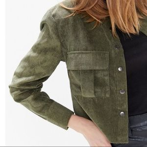 Olive Corduroy Snap Down Collared Crop Shirt